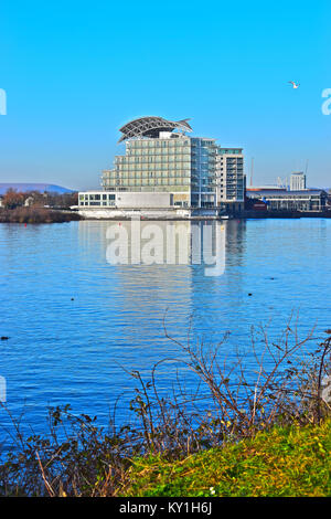 The St David's Hotel, a 5 Star luxury hotel by The Principal Hotel Company seen from across Cardiff Bay.