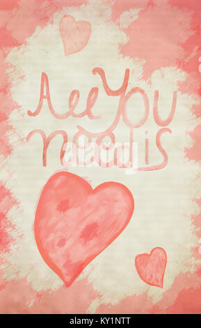 Vintage 'All you need is love' hand written colorfull typography background - Stock Photo