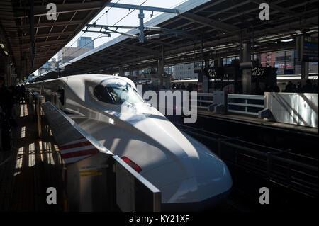 30.12.2017, Nagoya, Japan, Asia - A Shinkansen Bullet Train at Nagoya's Central station. - Stock Photo