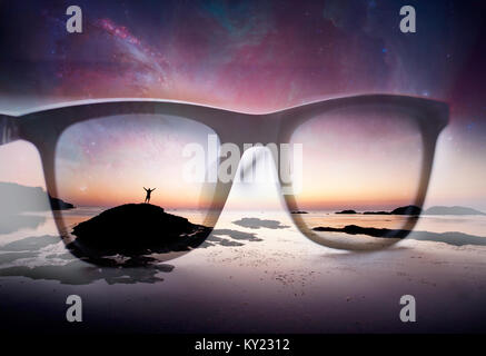 future and universe exploration, abstract double exposure background with sunglasses and human silhouette- elements - Stock Photo