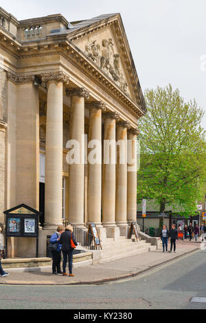 View of the grand portico of the Corn Exchange building in Bury St Edmunds, Suffolk, designed by Georgian architect - Stock Photo