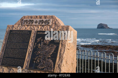 Monument tribute to Royal Air Force Coastal Command in Scotland, North Berwick, East Lothian, Scotland, UK, with - Stock Photo