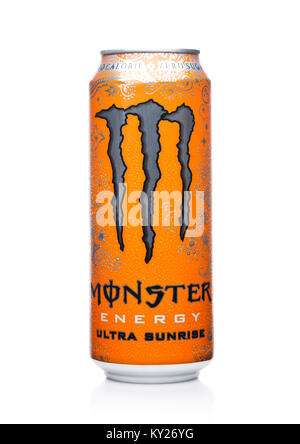 LONDON, UK - JANUARY 02, 2018: A can of Monster Energy Drink ultra sunrise on white background. Introduced in 2002 - Stock Photo