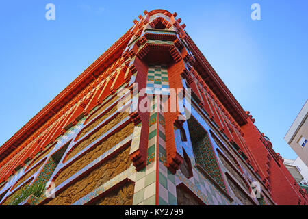 View of the Casa Vicens museum, located in a landmark house designed by architect Antoni Gaudi in Barcelona, Catalonia. - Stock Photo
