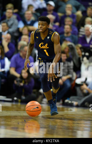 Seattle, WA, USA. 11th Jan, 2018. Cal guard Darius McNeill (1) in action during a PAC12 basketball game between - Stock Photo