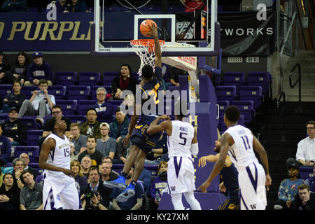 Seattle, WA, USA. 11th Jan, 2018. Cal's Juhwan Harris-Dyson (2) dunks for two points during a PAC12 basketball game - Stock Photo
