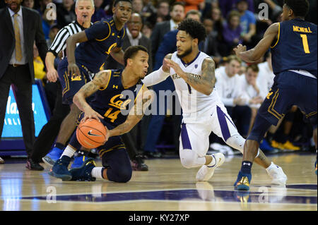 Seattle, WA, USA. 11th Jan, 2018. UW point guard David Crisp (1) pressures Cal's Don Coleman (14) during a PAC12 - Stock Photo