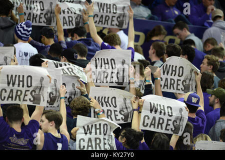 Seattle, WA, USA. 11th Jan, 2018. The UW student section show their competitive side during Cal introductions before - Stock Photo