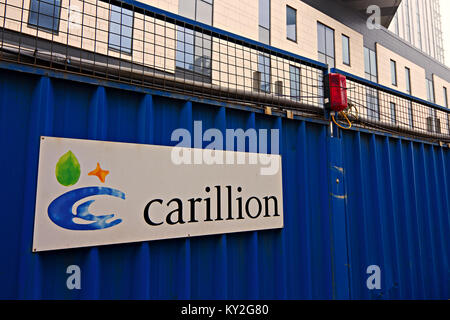 Liverpool, UK. 12th Jan, 2018. Troubled construction firm Carillion is building the £335m new Royal Liverpool Hospital, - Stock Photo