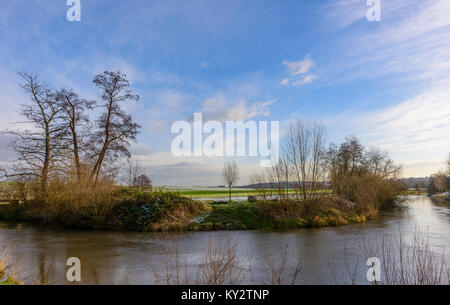 Color outdoor landscpae panoramic photography of a morning at a river crossing with blue sky,light clouds, sunlight - Stock Photo