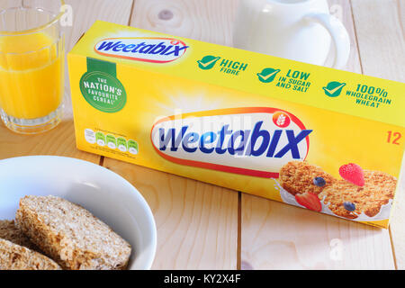 Weetabix a wholewheat breakfast biscuit produced in the UK by Weetabix Limited since 1932 and one of the most popular - Stock Photo