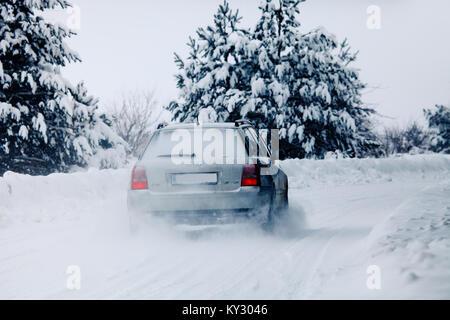 SOFIA, BULGARIA - NOVEMBER 20, 2017: Audi car on the winter road - Stock Photo