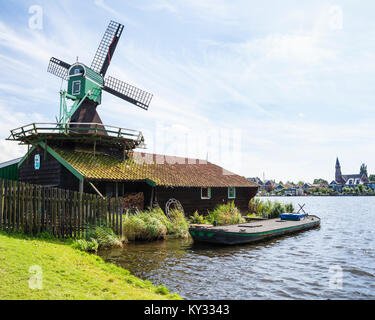 Zaanse Schans. Historical town in North Holland with open-air museum. Working windmills, - Stock Photo