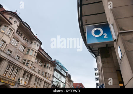 MUNICH, GERMANY - DECEMBER 18, 2017: O2 logo on their Munich main shop. O2 is one of the main phone carriers and - Stock Photo