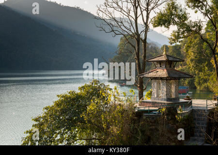 Scenic view of Phewa Lake, Pokhara, Nepal - Stock Photo