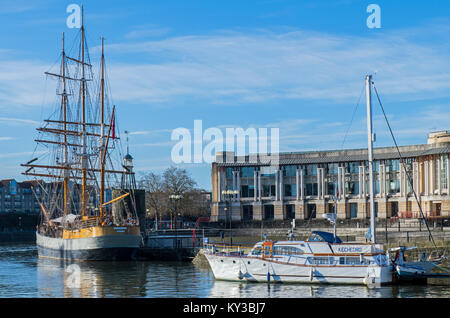 Bristol Harbour with Kaskelot Barque - Stock Photo