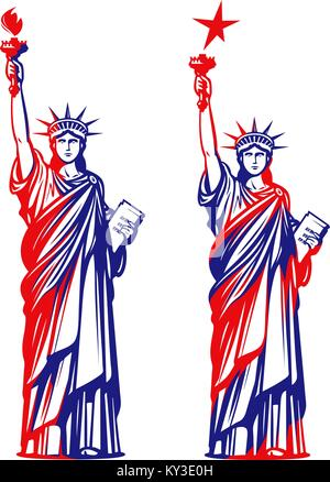 Statue of liberty, freedom. USA symbol or icon. Vector illustration - Stock Photo