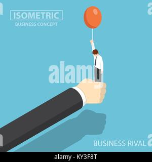 Flat 3d isometric businessman hand stop his business rival before he float by balloon. business rival and competition - Stock Photo