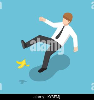 Flat 3d isometric businessman slipped on a banana peel. Business accident concept. - Stock Photo