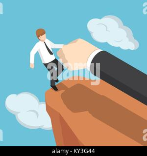 Flat 3d isometric big hand help businessman not to fall off the cliff. Business help and support concept. - Stock Photo