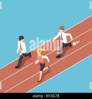 Flat 3d isometric business rival hold finish line away from businessman. Business competition concept. - Stock Photo