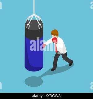 Flat 3d isometric businessman punch the blue punching bag. Business training concept. - Stock Photo