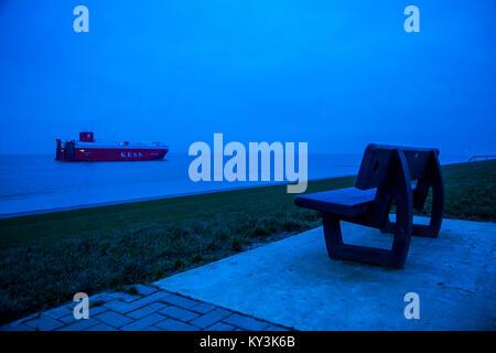 Auto Transporter ship, the 'K' Line European Sea Highway Services (KESS), on the Dollard, Ems estuary, transports - Stock Photo