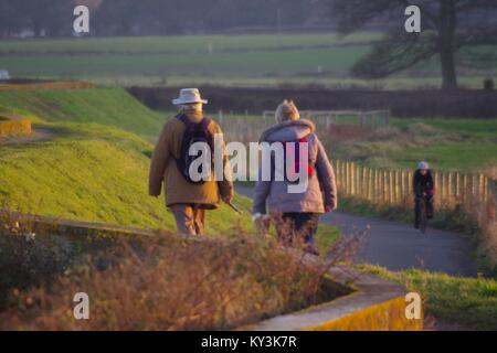 Man and Woman Middle Aged Couple Dog Walking along the Exe Estuary Trail, from Turf Hotel to Powderham in the Golden - Stock Photo