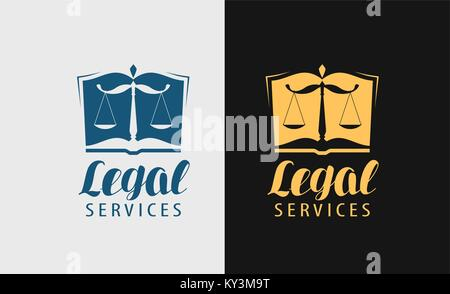 Legal services logo. Notary, justice, lawyer icon or symbol. Vector illustration - Stock Photo
