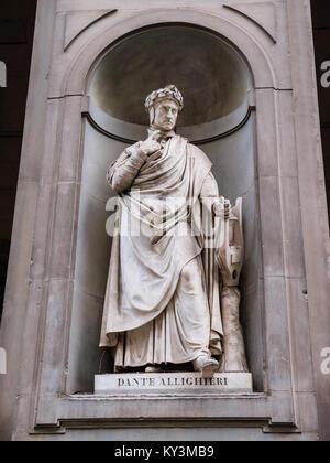 Statue of poet Dante Allighieri in the Italian city of Florence - Stock Photo