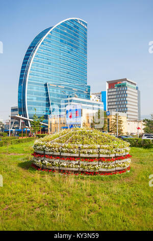 ULAANBAATAR, MONGOLIA - JULY 12, 2016: The Blue Sky Tower is located in Ulaanbaatar, Mongolia. The skyscraper is - Stock Photo