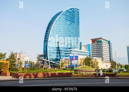 ULAANBAATAR, MONGOLIA - JULY 12, 2016: The Blue Sky Tower is located in Ulaanbaatar, Mongolia. The skyscraper is - Stock Photo