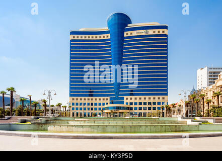 BAKU, AZERBAIJAN - SEPTEMBER 14, 2016: The Hilton Baku is a luxury 5 star hotel in the center of Baku, Azerbaijan. - Stock Photo