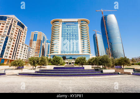 BAKU, AZERBAIJAN - SEPTEMBER 14, 2016: JW Marriott Absheron Baku  is a luxury 5 star hotel in the center of Baku, - Stock Photo