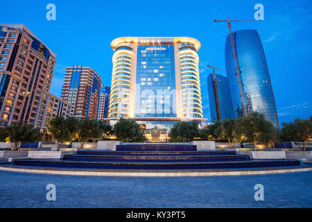 BAKU, AZERBAIJAN - SEPTEMBER 15, 2016: JW Marriott Absheron Baku  is a luxury 5 star hotel in the center of Baku, - Stock Photo
