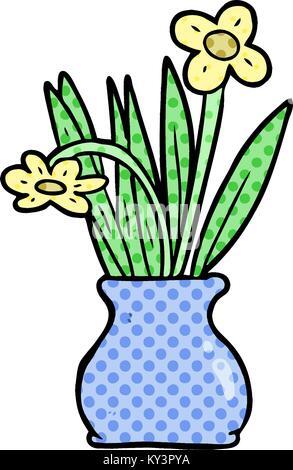 Plant In Vase Kawaii Cartoon Stock Vector Art Illustration Vector