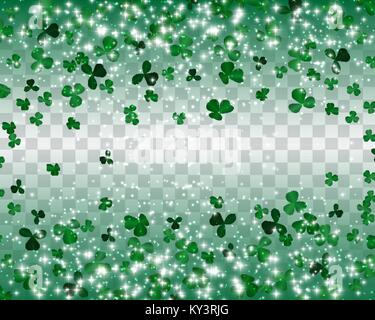 Naturalistic colorful Seamless pattern of green clover. Vector Illustration. - Stock Photo