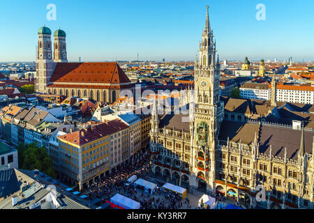 Aerial view of The New Town Hall and Marienplatz before sunset, Munich city, Bavaria, Germany - Stock Photo