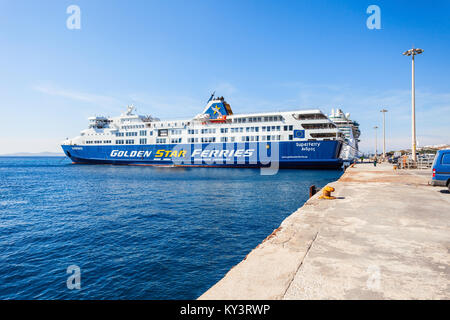 MYKONOS ISLAND, GREECE - OCTOBER 21, 2016: Golden Star ferry at the Mykonos island port, Cyclades islands in Greece. - Stock Photo