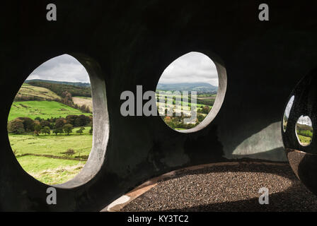 Looking out across the countryside from inside the 'The Atom', a panopticon, above Wycoller in Lancashire, England. 11 October 2008