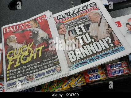 Headlines of New York tabloid newspapers on Thursday, January 4, 2018 report on the kerfuffle between President - Stock Photo