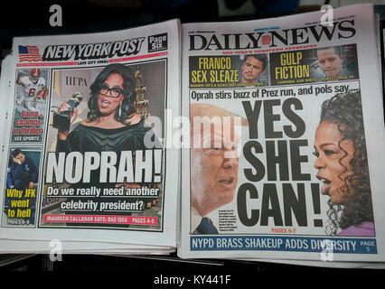 Headlines of New York tabloid newspapers on Tuesday, January 9, 2018 speculate on a presidential run by celebrity - Stock Photo