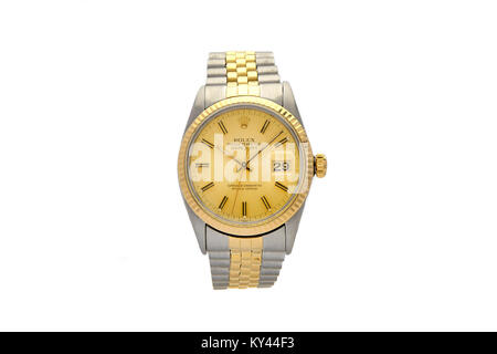 Rolex Oyster stainless steel and gold man's watch with gold face - Stock Photo