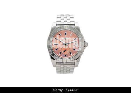 Breitling stainless steel man's watch with pink face - Stock Photo