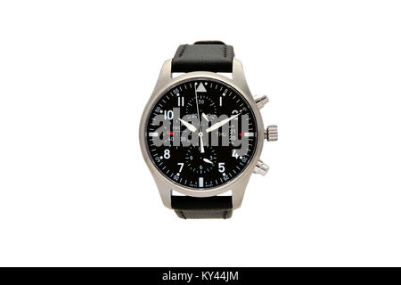 IWC Chronograph stainless steel man's watch with black face and leather wrist band - Stock Photo
