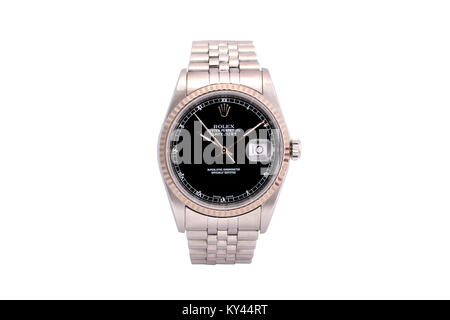 Rolex Oyster perpetual date adjust men's stainless steel watch with black face - Stock Photo