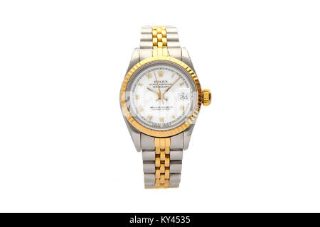 Rolex Oyster stainless steel and gold men's watch with white face - Stock Photo