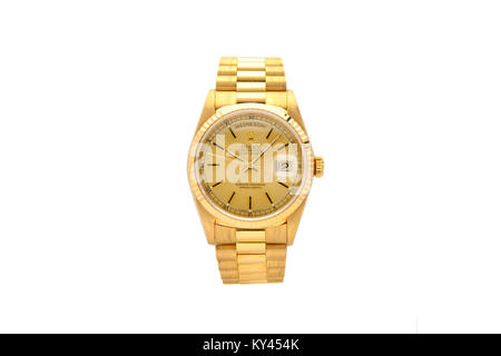 Rolex Oyster gold men's watch with gold face - Stock Photo