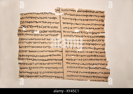 A possible first century Greek Manuscript of the Gospel of Matthew, published as a facsimile by Constantine Simonides - Stock Photo