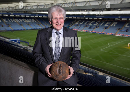 John Hutchinson, the club historian and archivist, pictured inside Leicester City's King Power stadium, holding - Stock Photo